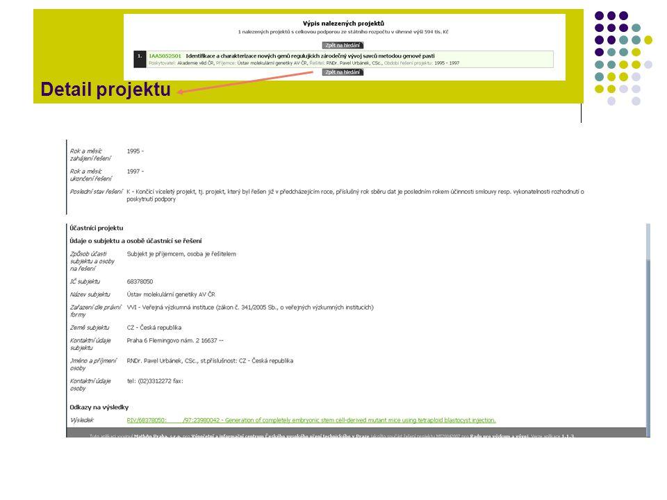 Autoritní záznam projektu je propojen na publikace řešitele