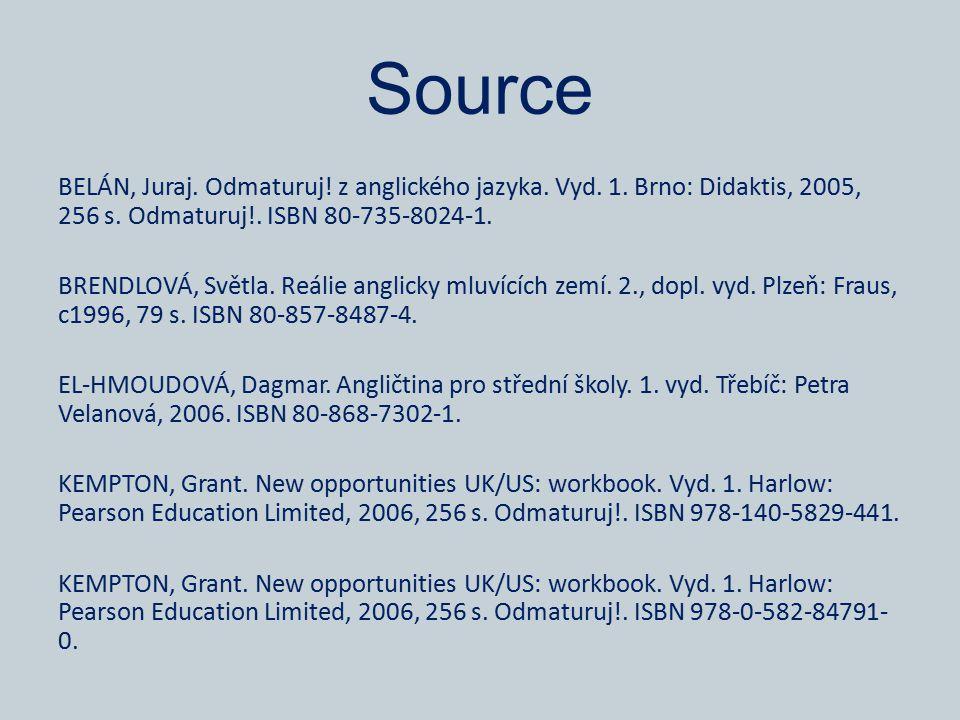 Source BELÁN, Juraj. Odmaturuj. z anglického jazyka.