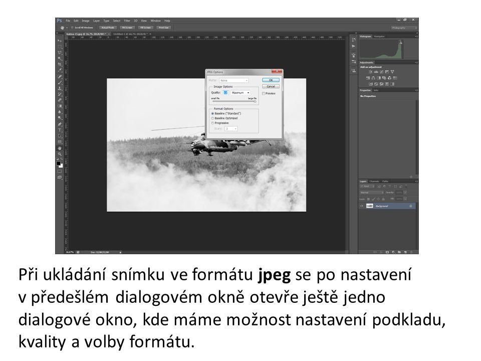 Při ukládání snímku ve formátu jpeg se po nastavení v předešlém dialogovém okně otevře ještě jedno dialogové okno, kde máme možnost nastavení podkladu, kvality a volby formátu.