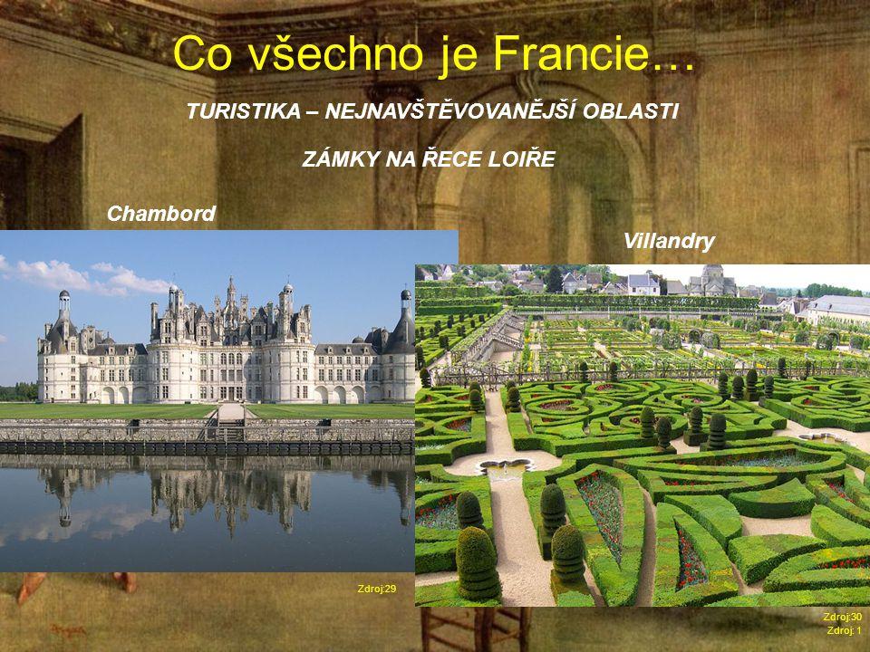 Co všechno je Francie… Zdroj: 1 TURISTIKA – NEJNAVŠTĚVOVANĚJŠÍ OBLASTI Zdroj:29 ZÁMKY NA ŘECE LOIŘE Chambord Villandry Zdroj:30