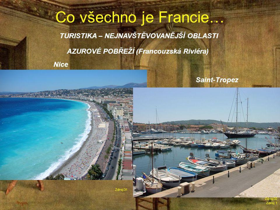 Co všechno je Francie… Zdroj: 1 TURISTIKA – NEJNAVŠTĚVOVANĚJŠÍ OBLASTI Zdroj:31 AZUROVÉ POBŘEŽÍ (Francouzská Riviéra) Nice Saint-Tropez Zdroj:32