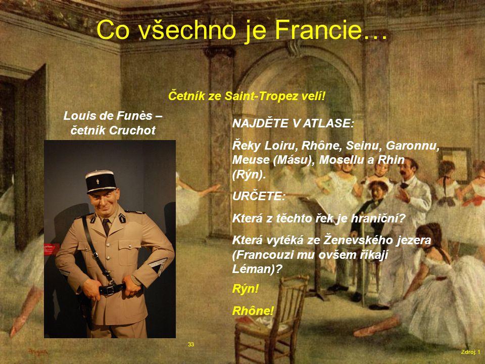Co všechno je Francie… Zdroj: 1 33 Louis de Funès – četník Cruchot NAJDĚTE V ATLASE: Řeky Loiru, Rhône, Seinu, Garonnu, Meuse (Másu), Mosellu a Rhin (Rýn).