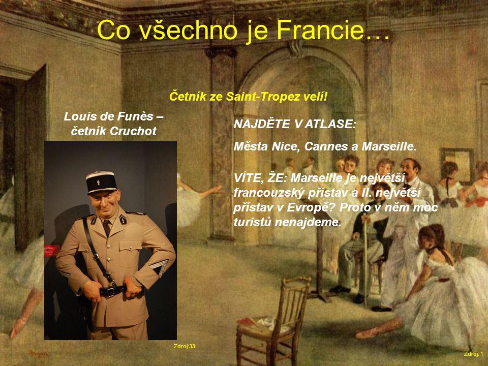 Co všechno je Francie… Zdroj: 1 Zdroj:33 Louis de Funès – četník Cruchot NAJDĚTE V ATLASE: Města Nice, Cannes a Marseille.