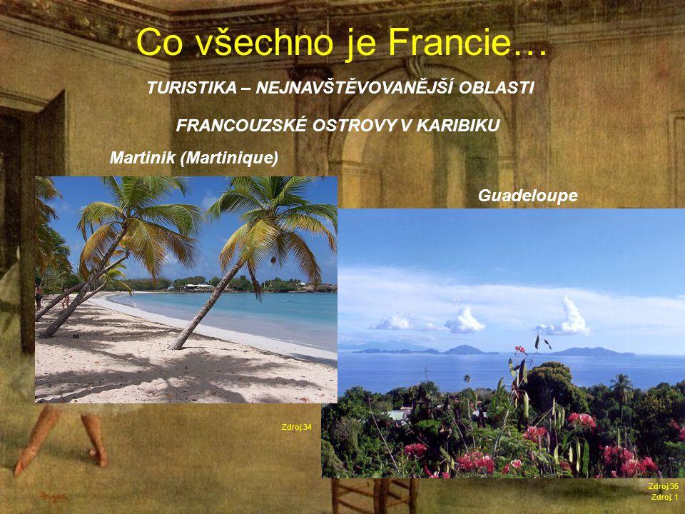 Co všechno je Francie… Zdroj: 1 TURISTIKA – NEJNAVŠTĚVOVANĚJŠÍ OBLASTI Zdroj:34 FRANCOUZSKÉ OSTROVY V KARIBIKU Martinik (Martinique) Guadeloupe Zdroj:35