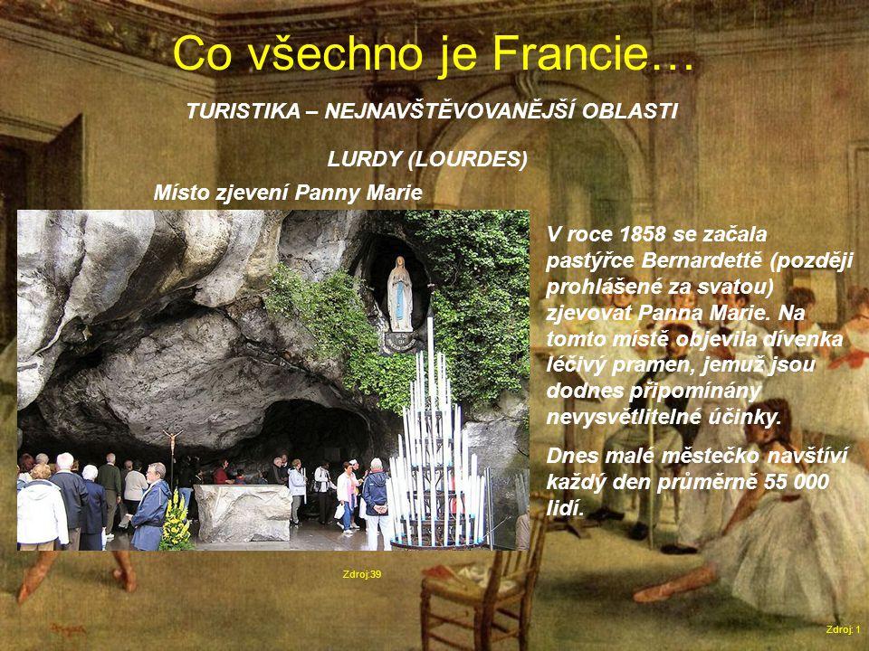 Co všechno je Francie… Zdroj: 1 TURISTIKA – NEJNAVŠTĚVOVANĚJŠÍ OBLASTI Zdroj:39 LURDY (LOURDES) Místo zjevení Panny Marie V roce 1858 se začala pastýřce Bernardettě (později prohlášené za svatou) zjevovat Panna Marie.