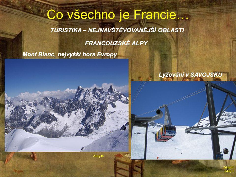 Co všechno je Francie… Zdroj: 1 TURISTIKA – NEJNAVŠTĚVOVANĚJŠÍ OBLASTI Zdroj:40 FRANCOUZSKÉ ALPY Mont Blanc, nejvyšší hora Evropy Lyžování v SAVOJSKU Zdroj:41