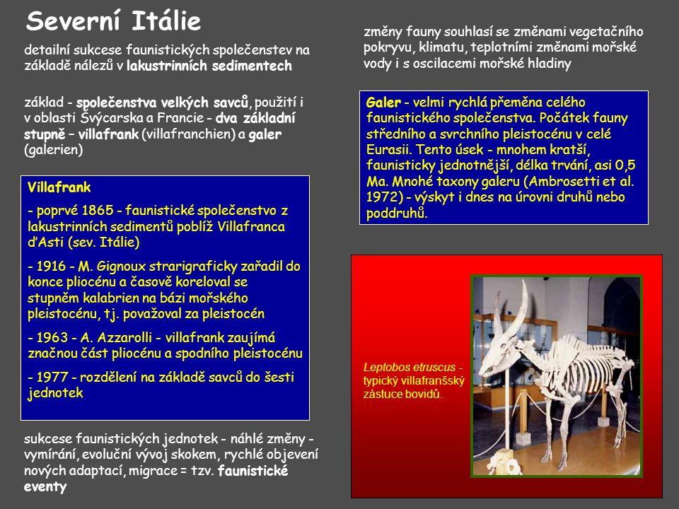 detailní sukcese faunistických společenstev na základě nálezů v lakustrinních sedimentech Severní Itálie základ - společenstva velkých savců, použití