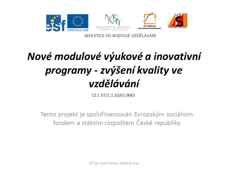 Nové modulové výukové a inovativní programy - zvýšení kvality ve vzdělávání Tento projekt je spolufinancován Evropským sociálním fondem a státním rozpočtem České republiky INVESTICE DO ROZVOJE VZDĚLÁVÁNÍ ZŠ Týn nad Vltavou, Malá Strana CZ.1.07/1.1.10/01.0063