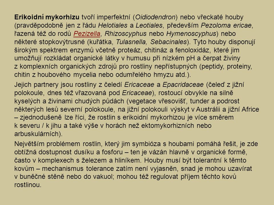Erikoidní mykorhizu tvoří imperfektní (Oidiodendron) nebo vřeckaté houby (pravděpodobně jen z řádu Helotiales a Leotiales, především Pezoloma ericae,