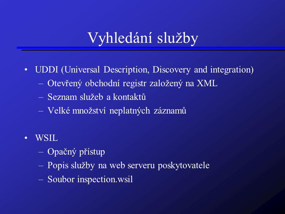 Vyhledání služby UDDI (Universal Description, Discovery and integration) –Otevřený obchodní registr založený na XML –Seznam služeb a kontaktů –Velké množství neplatných záznamů WSIL –Opačný přístup –Popis služby na web serveru poskytovatele –Soubor inspection.wsil