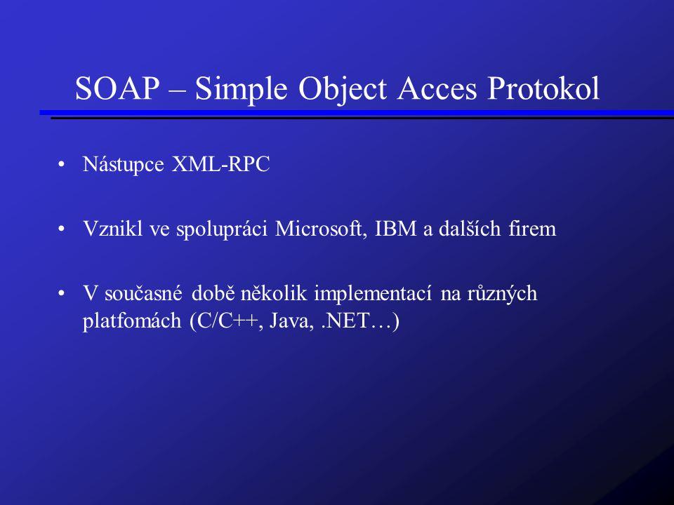 SOAP – Simple Object Acces Protokol Nástupce XML-RPC Vznikl ve spolupráci Microsoft, IBM a dalších firem V současné době několik implementací na různých platfomách (C/C++, Java,.NET…)