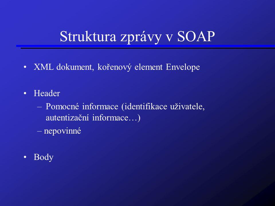 Struktura zprávy v SOAP XML dokument, kořenový element Envelope Header –Pomocné informace (identifikace uživatele, autentizační informace…) – nepovinné Body