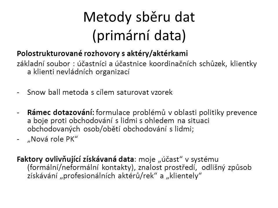 Metody sběru dat (primární data) Polostrukturované rozhovory s aktéry/aktérkami základní soubor : účastníci a účastnice koordinačních schůzek, klientk