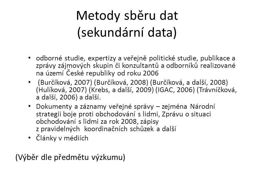 Metody sběru dat (sekundární data) odborné studie, expertizy a veřejně politické studie, publikace a zprávy zájmových skupin či konzultantů a odborník