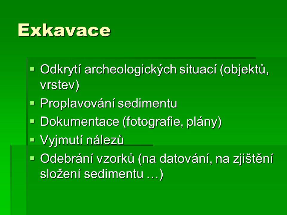 Exkavace  Odkrytí archeologických situací (objektů, vrstev)  Proplavování sedimentu  Dokumentace (fotografie, plány)  Vyjmutí nálezů  Odebrání vzorků (na datování, na zjištění složení sedimentu …)