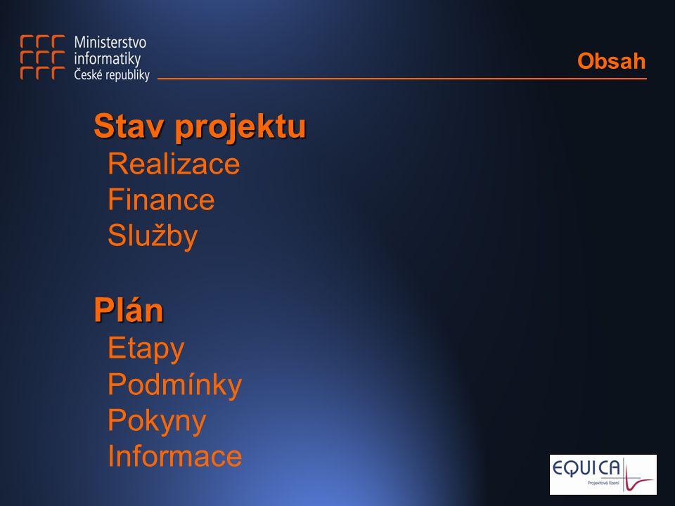 Obsah Stav projektu Realizace Finance SlužbyPlán Etapy Podmínky Pokyny Informace