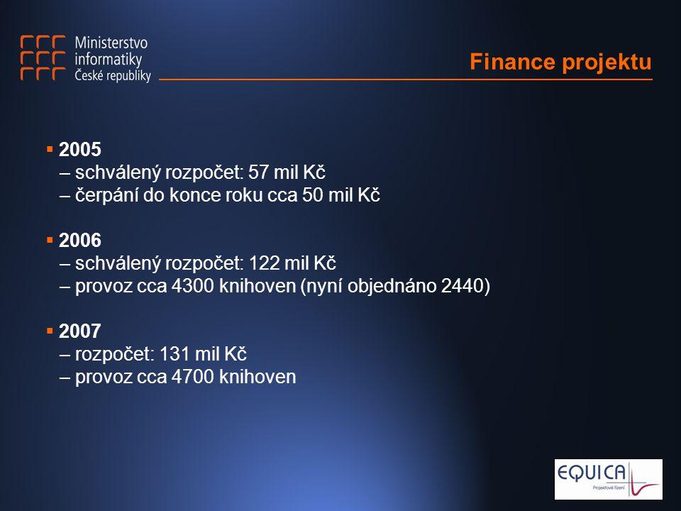 Finance projektu  2005 – schválený rozpočet: 57 mil Kč – čerpání do konce roku cca 50 mil Kč  2006 – schválený rozpočet: 122 mil Kč – provoz cca 4300 knihoven (nyní objednáno 2440)  2007 – rozpočet: 131 mil Kč – provoz cca 4700 knihoven