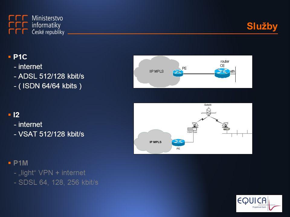 "Služby  P1C - internet - ADSL 512/128 kbit/s - ( ISDN 64/64 kbits )  I2 - internet - VSAT 512/128 kbit/s  P1M - ""light VPN + internet - SDSL 64, 128, 256 kbit/s"