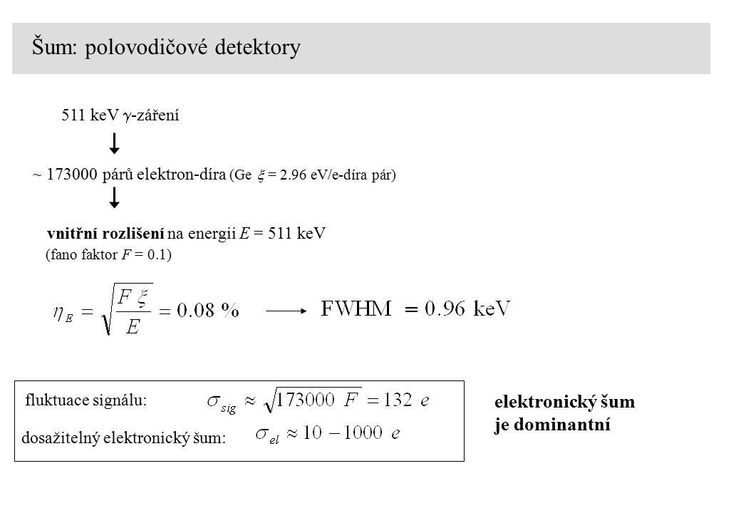 511 keV  -záření ~ 173000 párů elektron-díra (Ge  = 2.96 eV/e-díra pár) fluktuace signálu: dosažitelný elektronický šum: vnitřní rozlišení na energii E = 511 keV (fano faktor F = 0.1) elektronický šum je dominantní Šum: polovodičové detektory