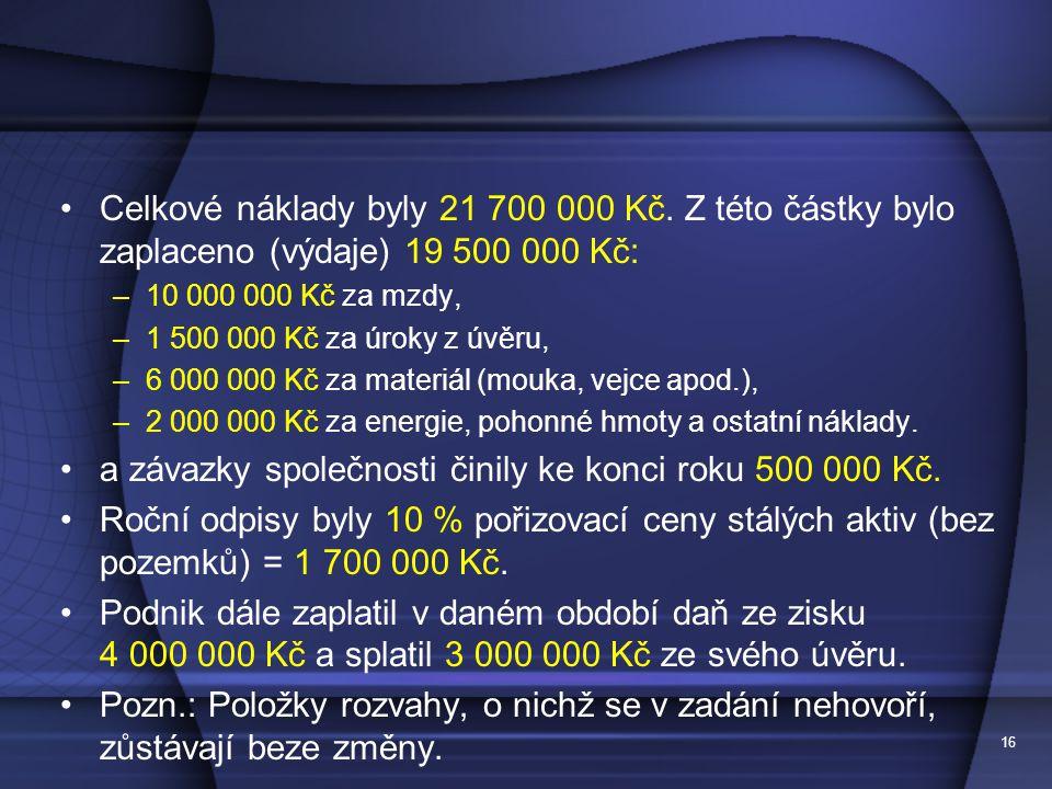Celkové náklady byly 21 700 000 Kč. Z této částky bylo zaplaceno (výdaje) 19 500 000 Kč: –10 000 000 Kč za mzdy, –1 500 000 Kč za úroky z úvěru, –6 00