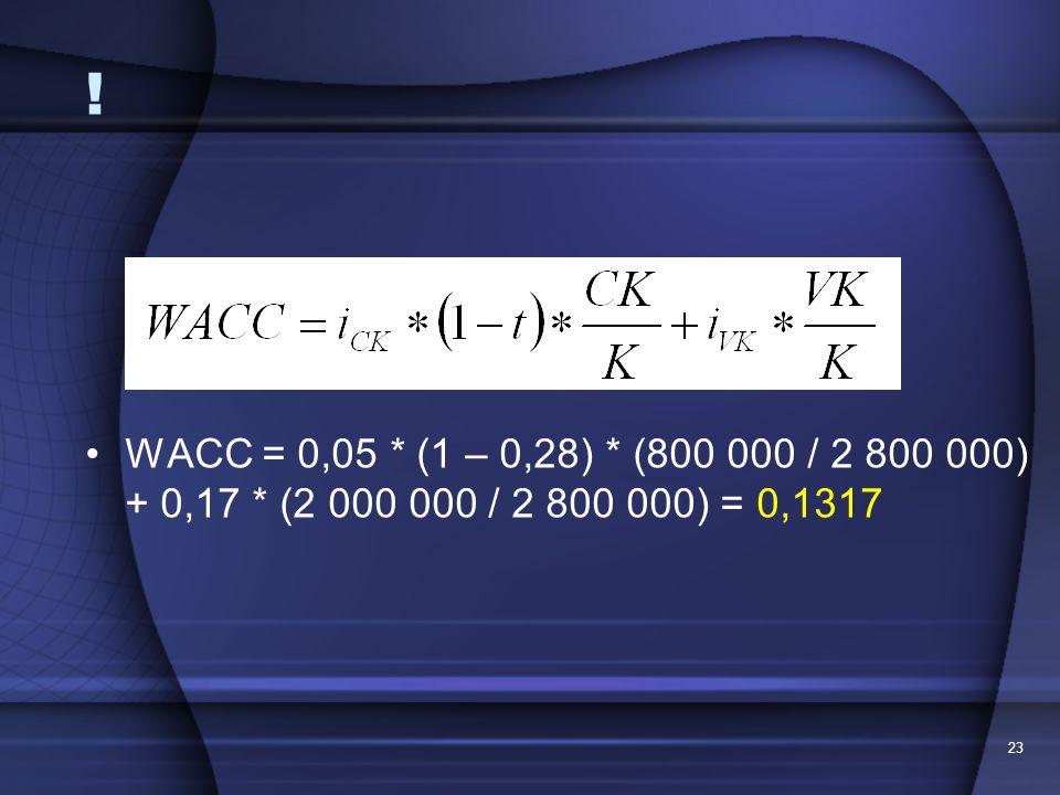 ! WACC = 0,05 * (1 – 0,28) * (800 000 / 2 800 000) + 0,17 * (2 000 000 / 2 800 000) = 0,1317 23