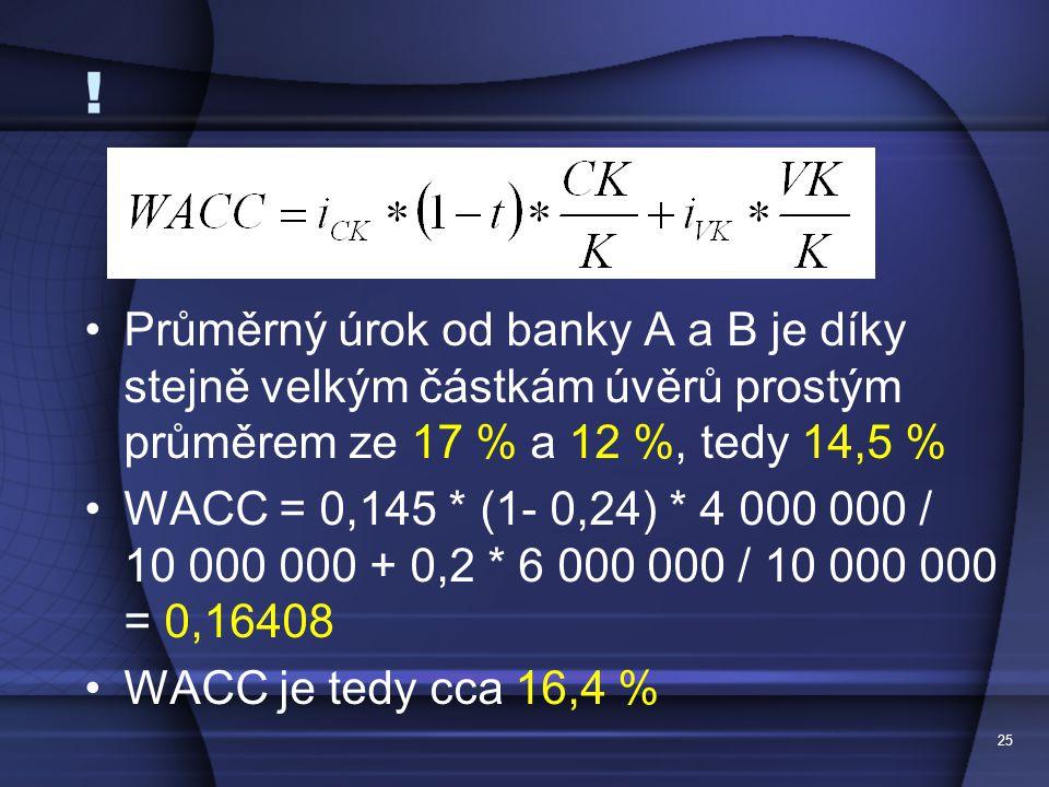 ! Průměrný úrok od banky A a B je díky stejně velkým částkám úvěrů prostým průměrem ze 17 % a 12 %, tedy 14,5 % WACC = 0,145 * (1- 0,24) * 4 000 000 /