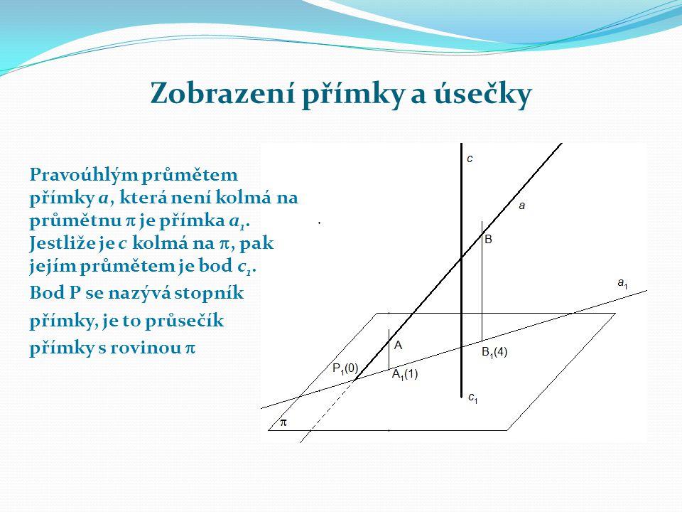 Zobrazení přímky a úsečky Pravoúhlým průmětem přímky a, která není kolmá na průmětnu  je přímka a 1.