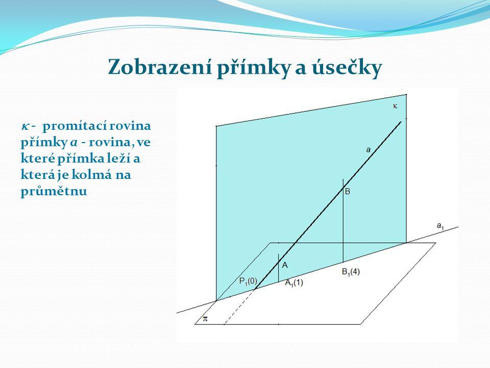 Zobrazení přímky a úsečky  - promítací rovina přímky a - rovina, ve které přímka leží a která je kolmá na průmětnu