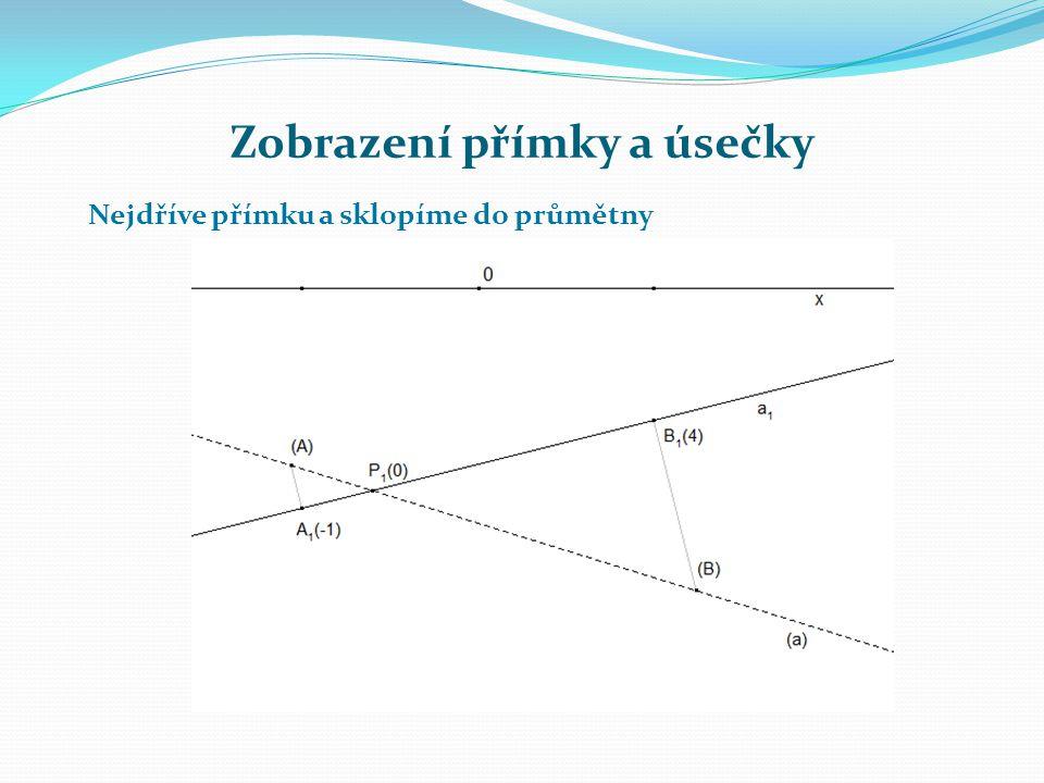 Zobrazení přímky a úsečky Na rovnoběžce s přímkou a 1 ve vzdálenosti 2,5 a na sklopené přímce a leží sklopený bod N