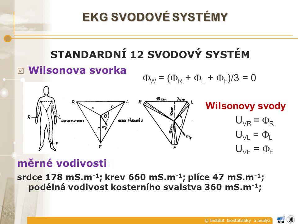 © Institut biostatistiky a analýz STANDARDNÍ 12 SVODOVÝ SYSTÉM  Wilsonova svorka měrné vodivosti: srdce 178 mS.m -1 ; krev 660 mS.m -1 ; plíce 47 mS.m -1 ; podélná vodivost kosterního svalstva 360 mS.m -1 ; + +  W = (  R +  L +  F )/3 = 0 Wilsonovy svody U VR =  R U VL =  L U VF =  F EKG SVODOVÉ SYSTÉMY