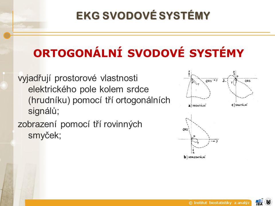 © Institut biostatistiky a analýz ORTOGONÁLNÍ SVODOVÉ SYSTÉMY vyjadřují prostorové vlastnosti elektrického pole kolem srdce (hrudníku) pomocí tří orto