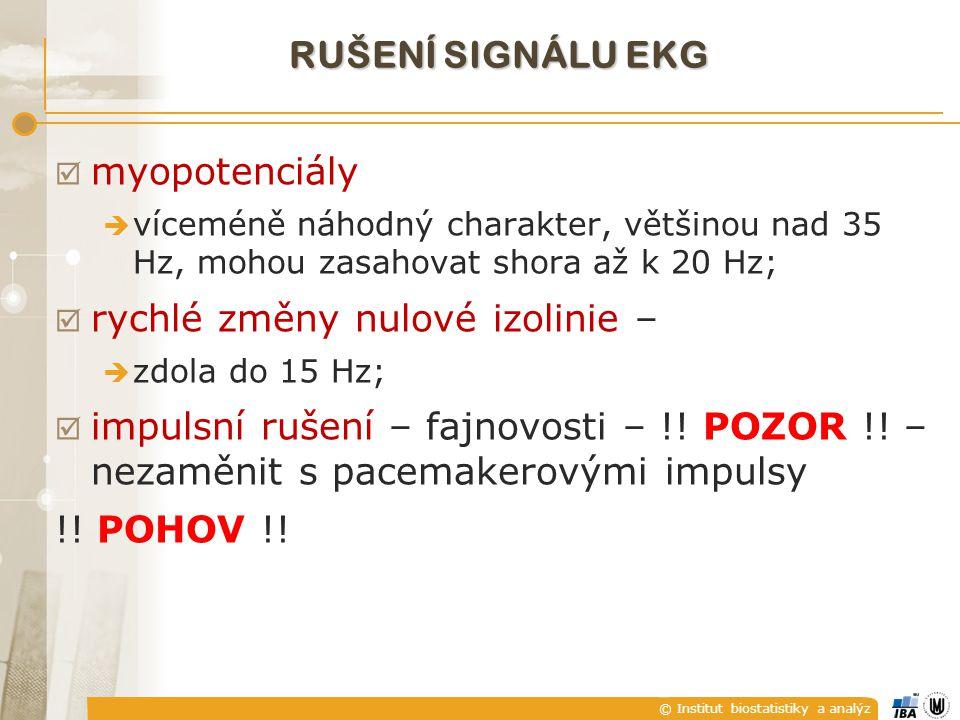 © Institut biostatistiky a analýz  myopotenciály  víceméně náhodný charakter, většinou nad 35 Hz, mohou zasahovat shora až k 20 Hz;  rychlé změny nulové izolinie –  zdola do 15 Hz;  impulsní rušení – fajnovosti – !.