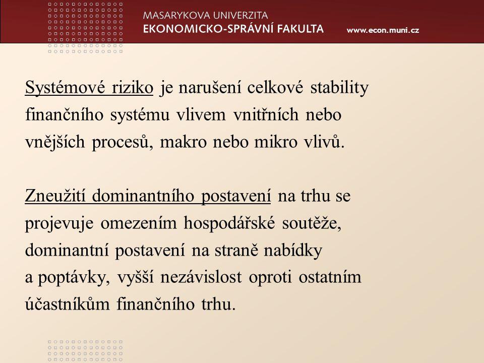 www.econ.muni.cz Systémové riziko je narušení celkové stability finančního systému vlivem vnitřních nebo vnějších procesů, makro nebo mikro vlivů.
