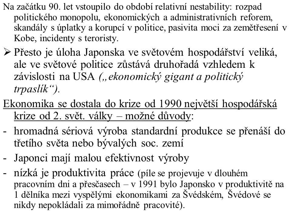 Na začátku 90. let vstoupilo do období relativní nestability: rozpad politického monopolu, ekonomických a administrativních reforem, skandály s úplatk