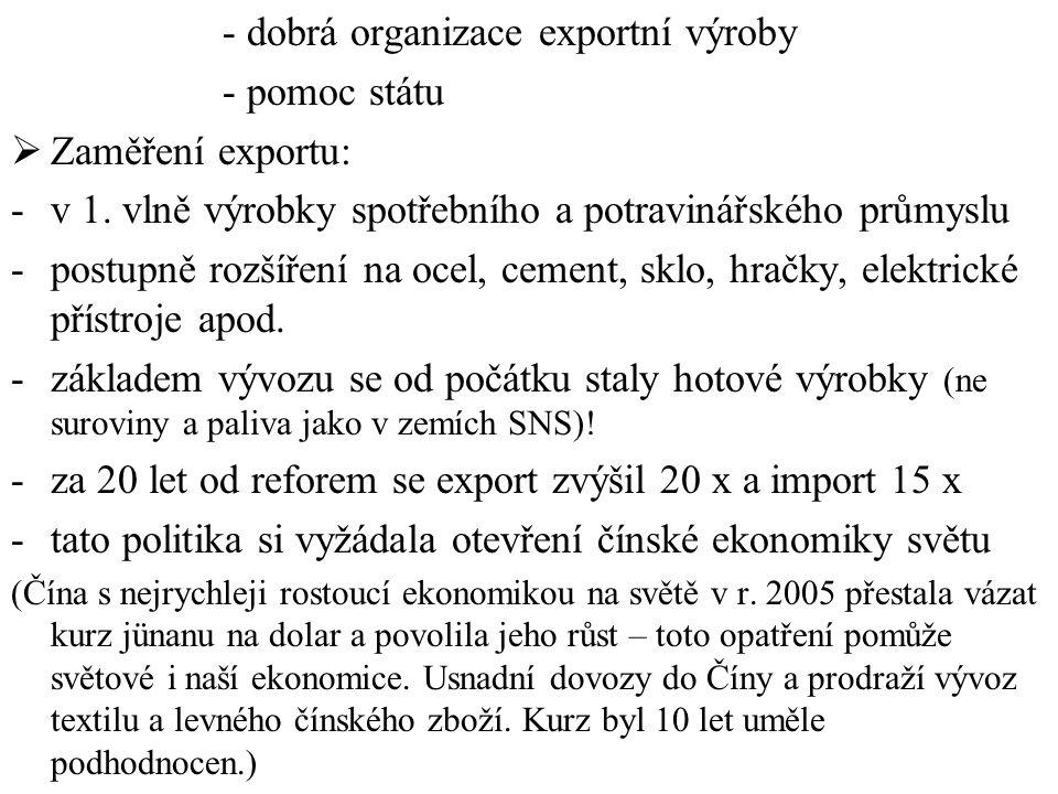 - dobrá organizace exportní výroby - pomoc státu  Zaměření exportu: -v 1. vlně výrobky spotřebního a potravinářského průmyslu -postupně rozšíření na