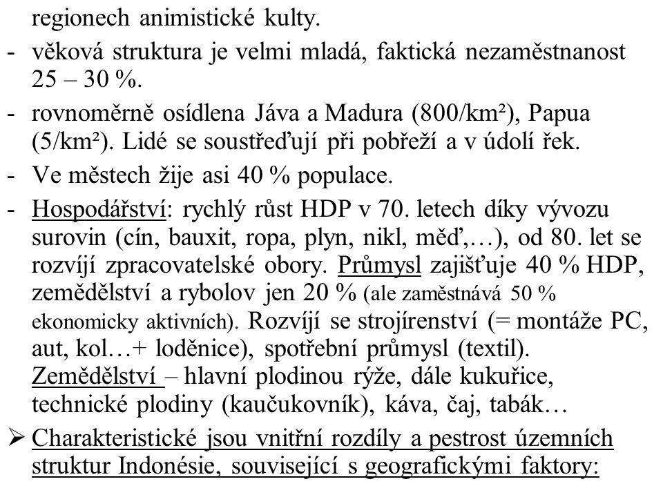 regionech animistické kulty. -věková struktura je velmi mladá, faktická nezaměstnanost 25 – 30 %. -rovnoměrně osídlena Jáva a Madura (800/km²), Papua