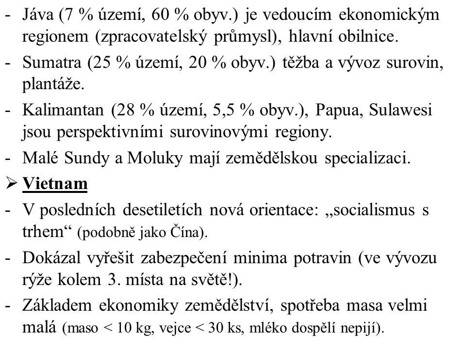 -Jáva (7 % území, 60 % obyv.) je vedoucím ekonomickým regionem (zpracovatelský průmysl), hlavní obilnice. -Sumatra (25 % území, 20 % obyv.) těžba a vý