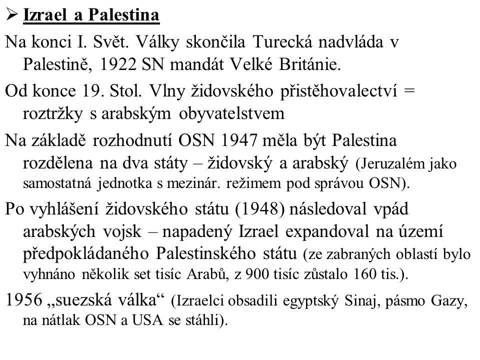  Izrael a Palestina Na konci I. Svět. Války skončila Turecká nadvláda v Palestině, 1922 SN mandát Velké Británie. Od konce 19. Stol. Vlny židovského