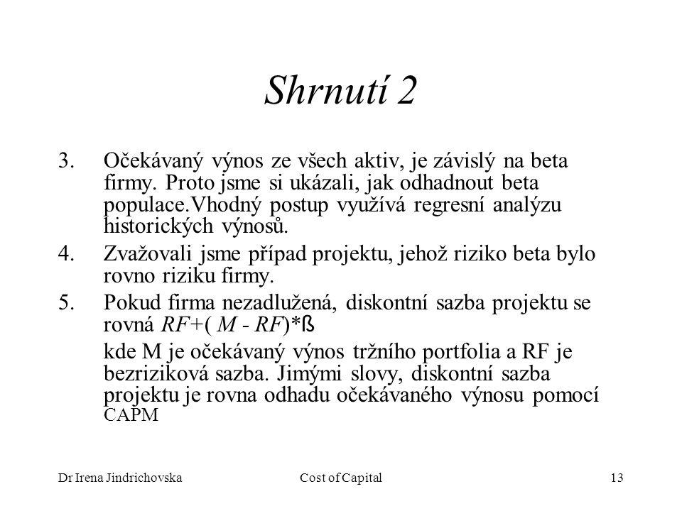 Dr Irena JindrichovskaCost of Capital13 Shrnutí 2 3.