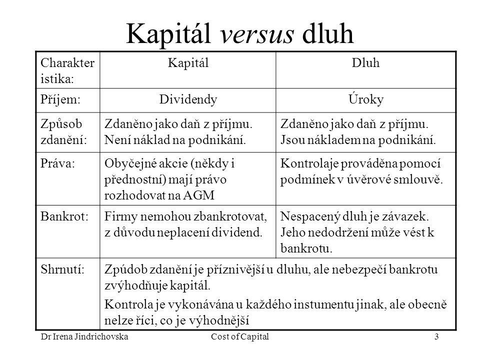 Dr Irena JindrichovskaCost of Capital3 Kapitál versus dluh Charakter istika: KapitálDluh Příjem:DividendyÚroky Způsob zdanění: Zdaněno jako daň z příjmu.