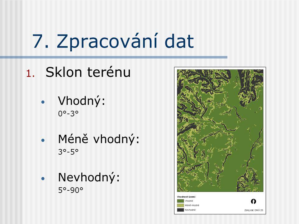 7. Zpracování dat 1. Sklon terénu Vhodný: 0°-3° Méně vhodný: 3°-5° Nevhodný: 5°-90°