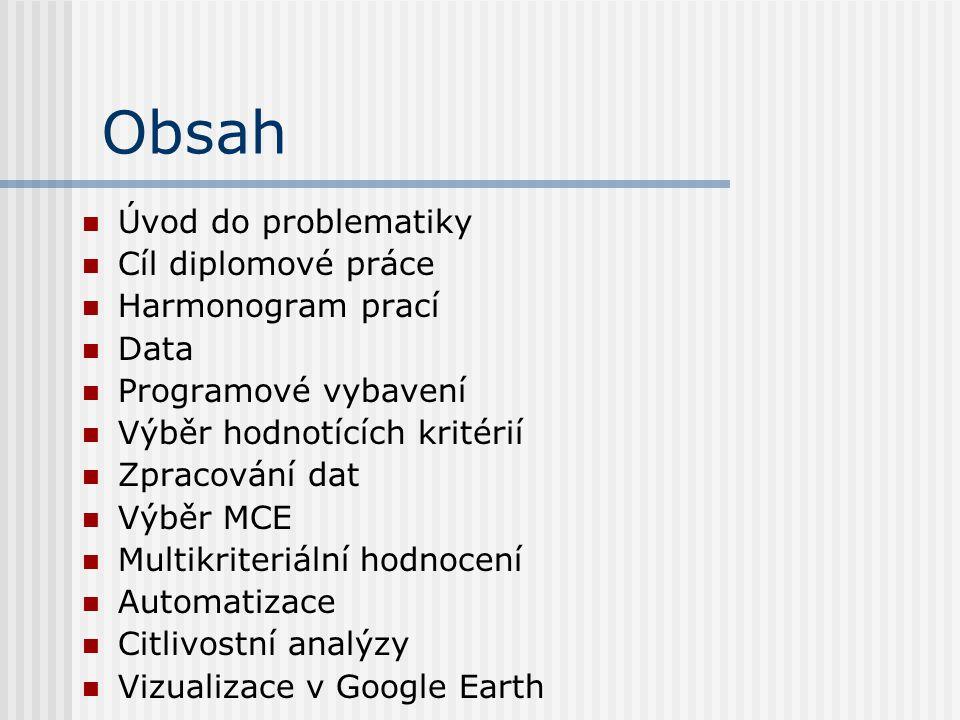Obsah Úvod do problematiky Cíl diplomové práce Harmonogram prací Data Programové vybavení Výběr hodnotících kritérií Zpracování dat Výběr MCE Multikriteriální hodnocení Automatizace Citlivostní analýzy Vizualizace v Google Earth