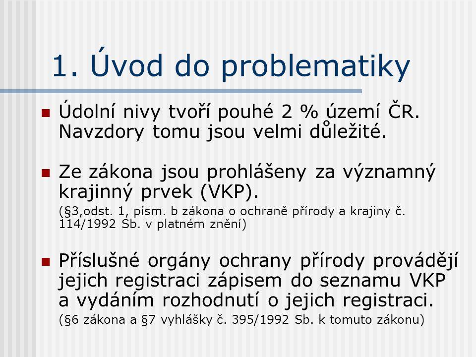 1. Úvod do problematiky Údolní nivy tvoří pouhé 2 % území ČR.