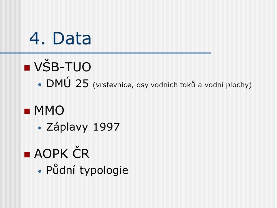 4. Data VŠB-TUO DMÚ 25 (vrstevnice, osy vodních toků a vodní plochy) MMO Záplavy 1997 AOPK ČR Půdní typologie