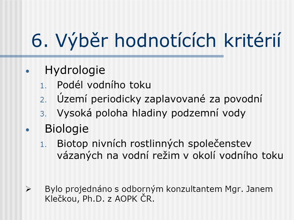 6. Výběr hodnotících kritérií Hydrologie 1. Podél vodního toku 2.