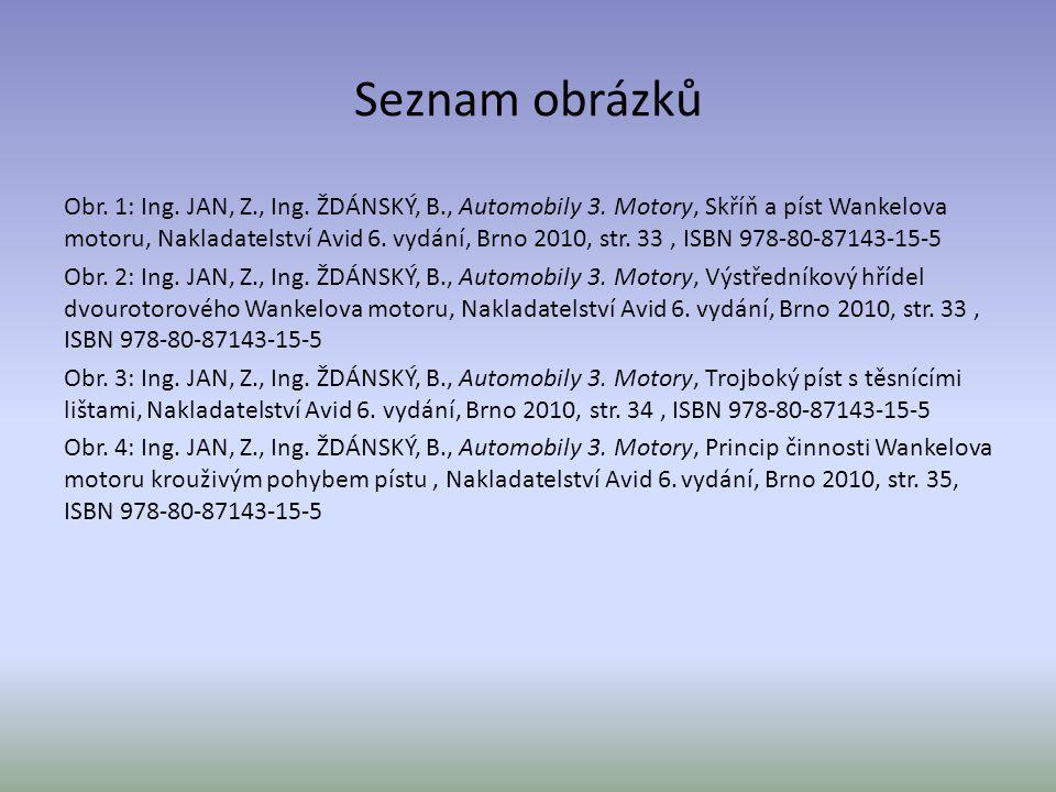 Seznam obrázků Obr. 1: Ing. JAN, Z., Ing. ŽDÁNSKÝ, B., Automobily 3. Motory, Skříň a píst Wankelova motoru, Nakladatelství Avid 6. vydání, Brno 2010,