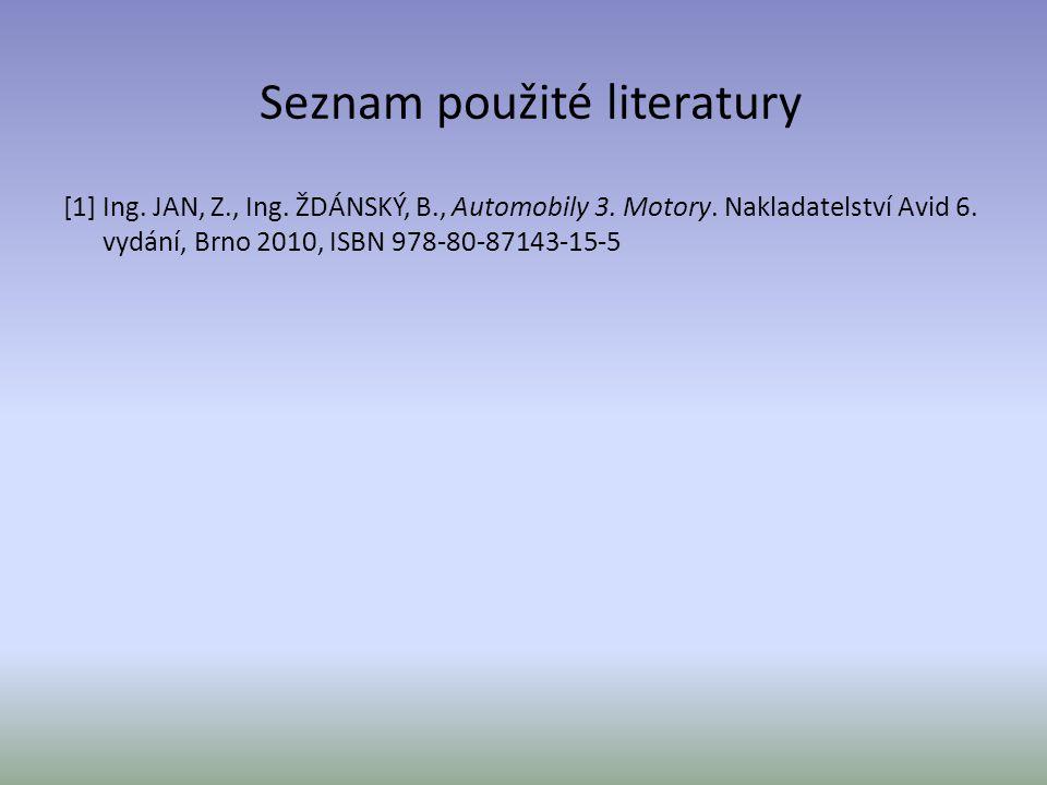 Seznam použité literatury [1] Ing. JAN, Z., Ing. ŽDÁNSKÝ, B., Automobily 3. Motory. Nakladatelství Avid 6. vydání, Brno 2010, ISBN 978-80-87143-15-5
