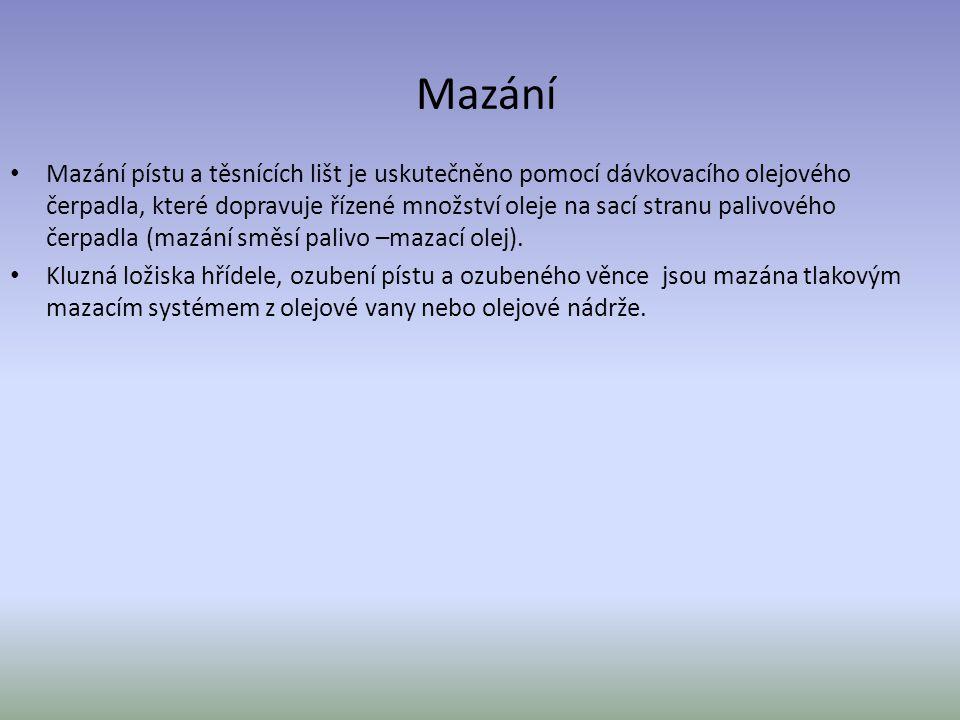Mazání Mazání pístu a těsnících lišt je uskutečněno pomocí dávkovacího olejového čerpadla, které dopravuje řízené množství oleje na sací stranu palivo