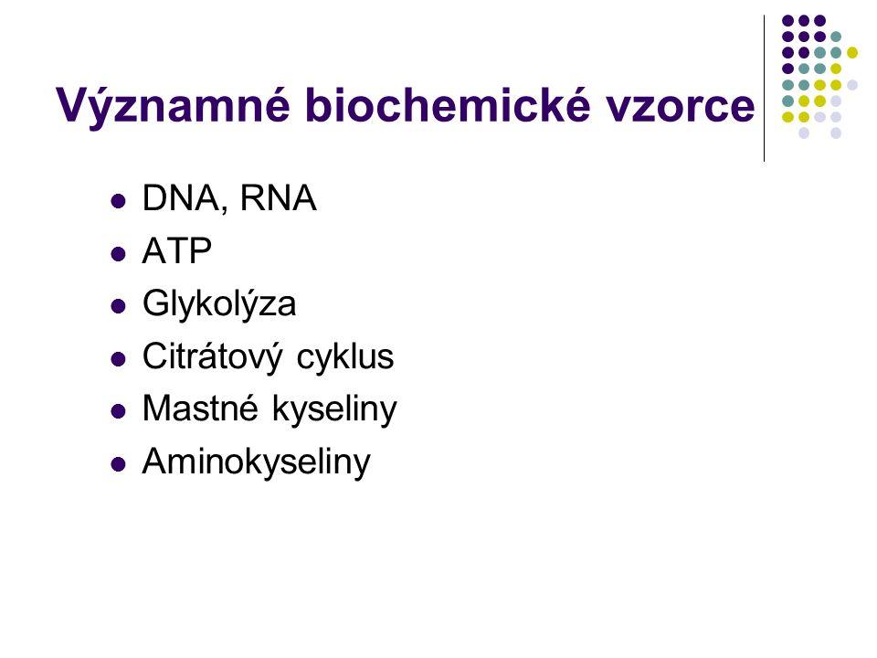 Významné biochemické vzorce DNA, RNA ATP Glykolýza Citrátový cyklus Mastné kyseliny Aminokyseliny