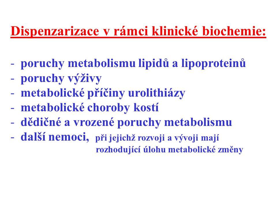 Dispenzarizace v rámci klinické biochemie: - poruchy metabolismu lipidů a lipoproteinů - poruchy výživy - metabolické příčiny urolithiázy - metabolick